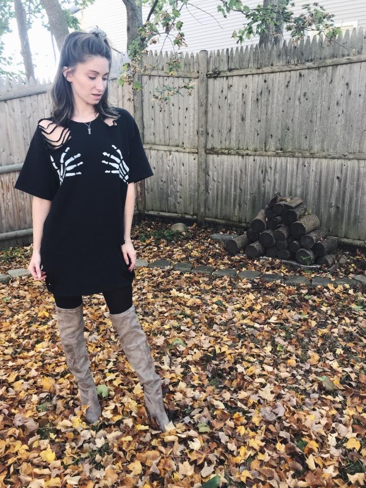 OOTD skeleton hands shirt