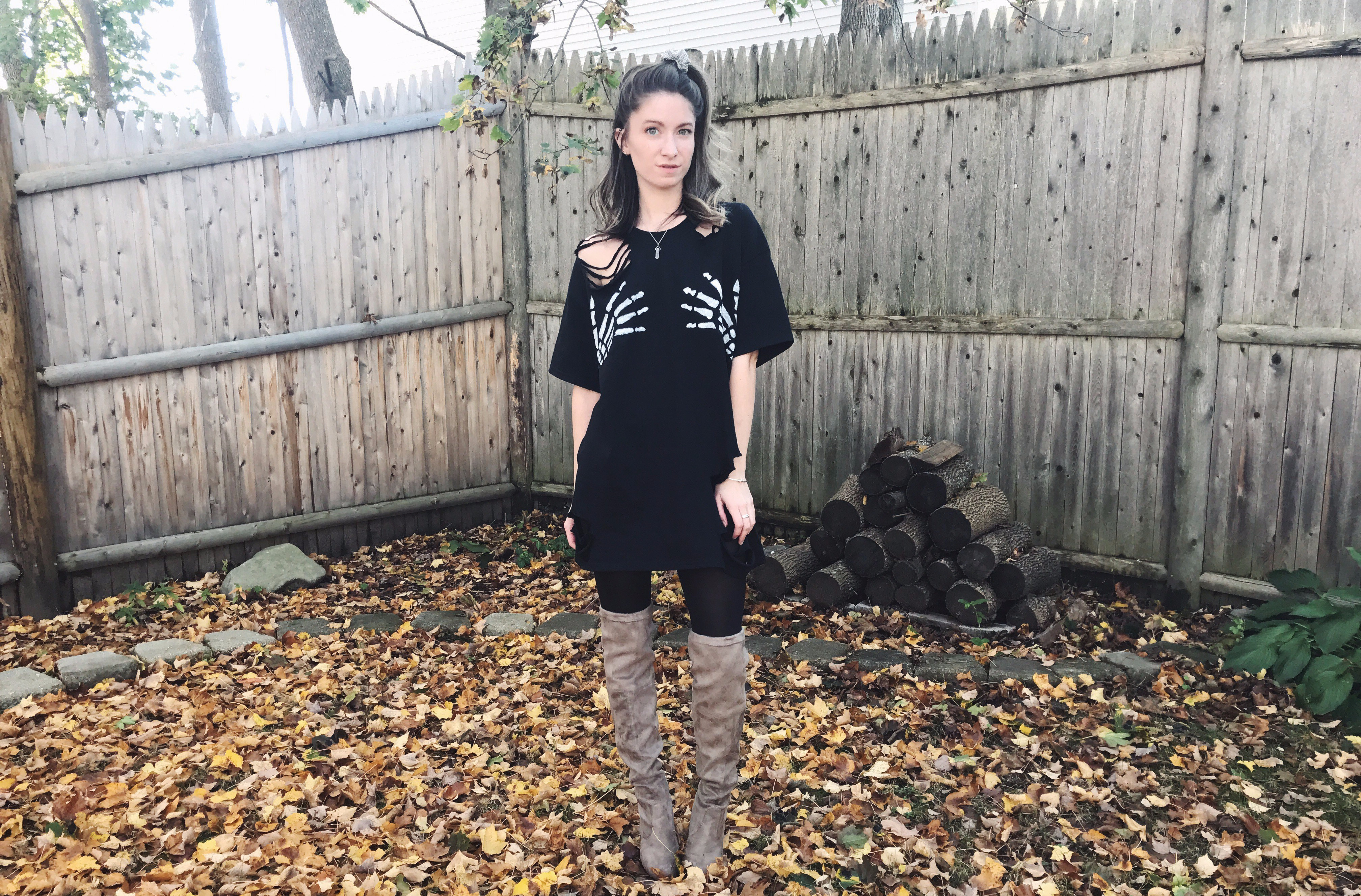 skeleton hands t-shirt dress